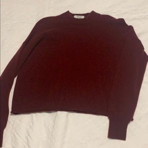 Red fuzzy mock neck sweater